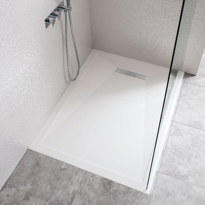 Crosswater Rectangular Low Profile Stone Resin Shower Tray with Linear Waste