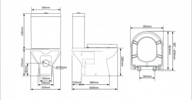 Tavistock Q60 Short Projection Pan with Cistern +Soft Close Seat