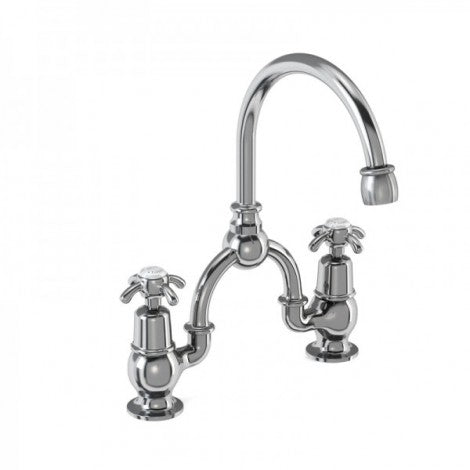 Burlington - Anglesey 2TH Bridge Curved Spout Basin Mixer (200mm centers)