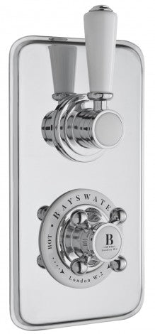 Bayswater Twin Concealed Shower Valve - 2 Control 1 Outlet - Choose Colour