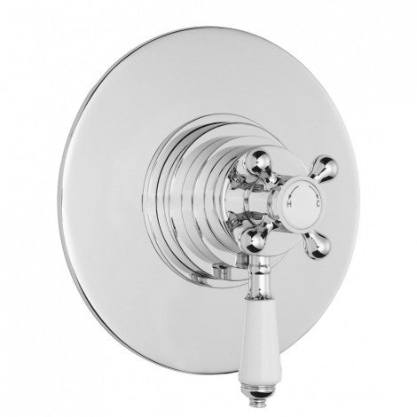 Bayswater Round Dual Thermostatic Concealed Shower Valve - 2 Control - 1 Outlet