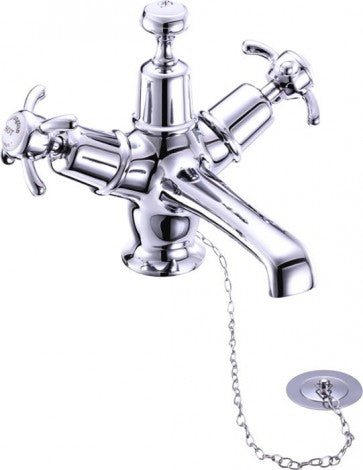Burlington Anglesey Basin Mixer with High / Low Central Burlington Ceramic Indice with Plug and Chain