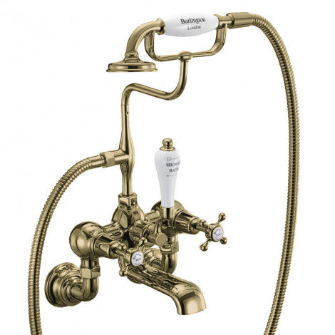 Burlington Claremont Wall Mounted Bath Shower Mixer Gold/Nickel