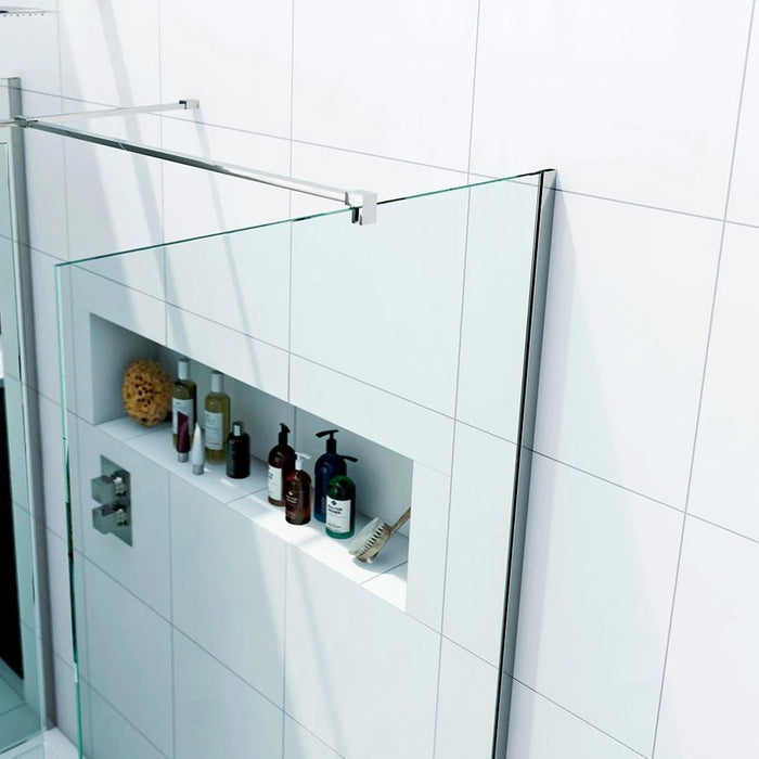 Elle 1200 X 760mm Easy Clean Walk-In Shower Enclosure (Inc Shower Panels + Stone Resin Tray + Waste)
