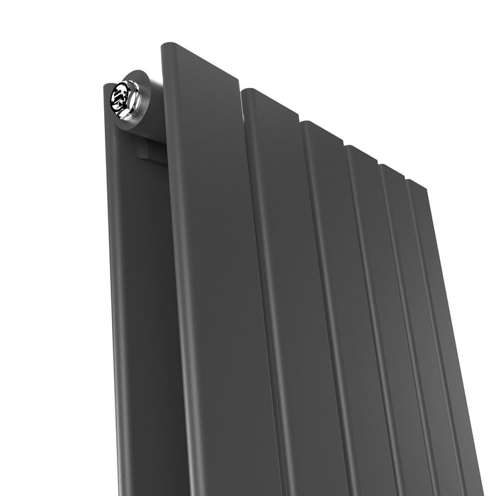 Elle 1800 x 300mm Vertical Column Double Flat Panel Designer Anthracite Radiator