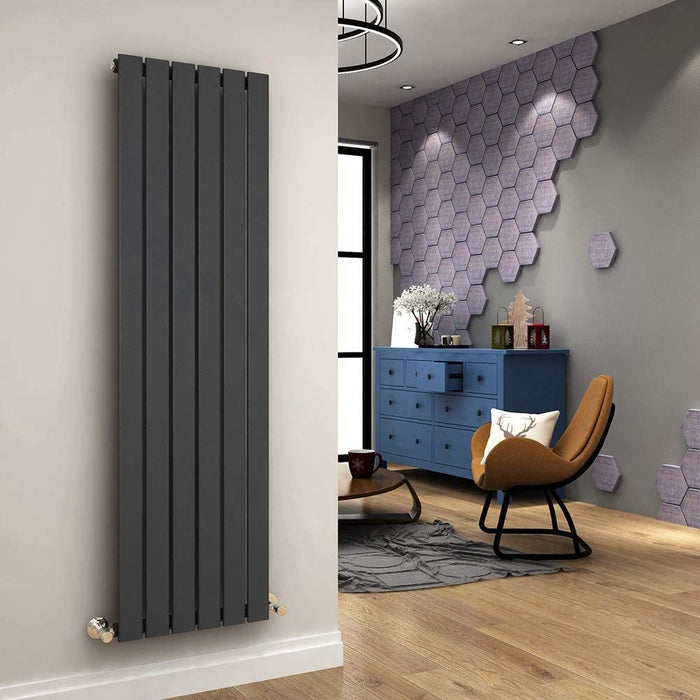 Elle 1600 x 452mm Vertical Column Designer Single Anthracite Flat Panel Radiator