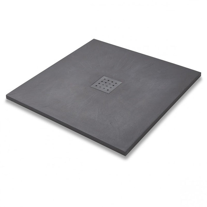 Kartell 900mm X 900mm Square Graphite Slate Effect Shower Tray + Waste