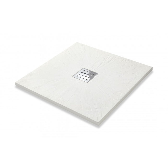 Kartell 900mm X 900mm Square White Slate Effect Shower Tray + Waste