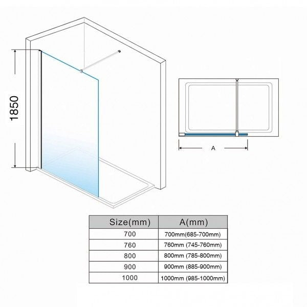 Elle 800mm Walk-In Shower Panel 6mm Tempered Glass Shower Screen