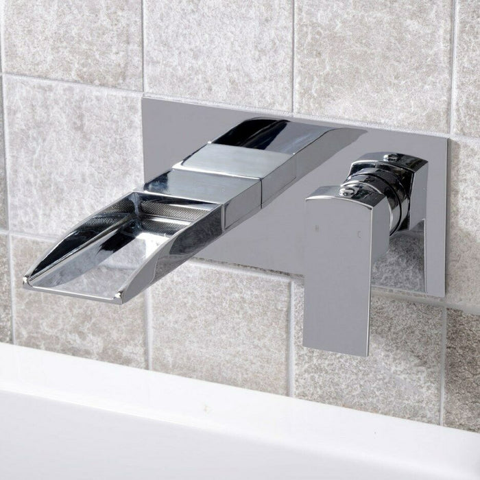 Milan Waterfall Bath Wall Mounted Mixer Tap - Chrome