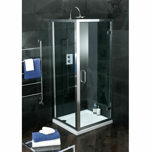 Atlas 800 Shower Hinge Door with Chrome Frame & Clear Glass