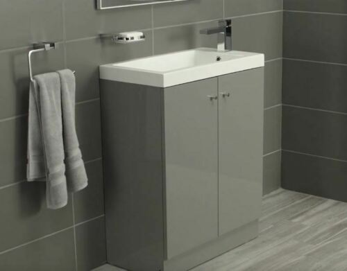 Alpine Duo 660 Floorstanding Vanity Unit inc. Basin - Gloss Grey