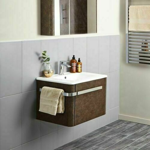 LINEN 600mm Basin & Wall Mounted Vanity Unit - Rust Brown