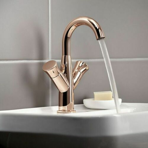 Transition Twin Handle Mono Basin Mixer Tap - Rose Gold