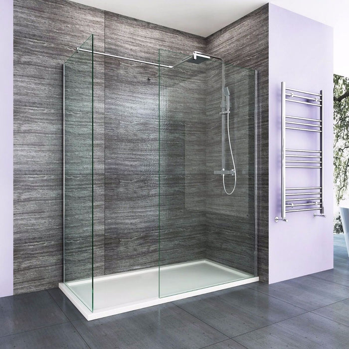 Elle 1200 X 700mm Easy Clean Walk-In Shower Enclosure (Inc Shower Panels + Stone Resin Tray + Waste)