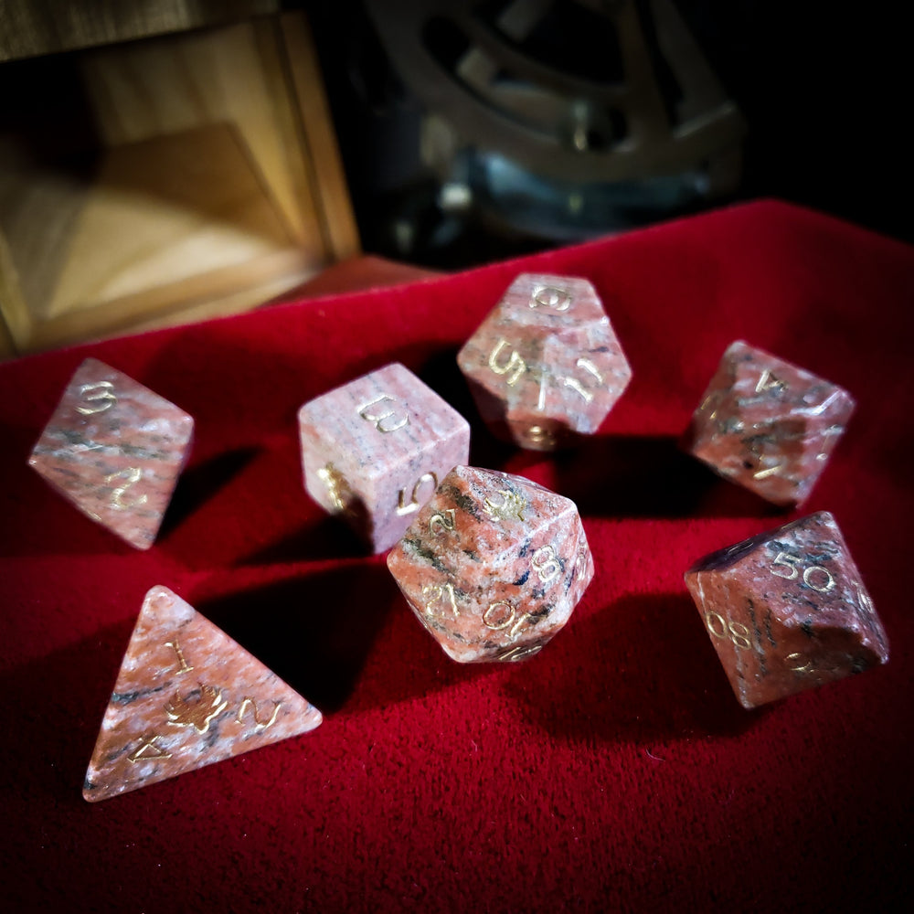 Red Granite Gemstone Dice Set - Role Playing Games
