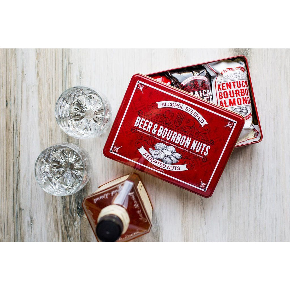 Beer & Bourbon Liquor Nuts Gift Tin  - 16oz