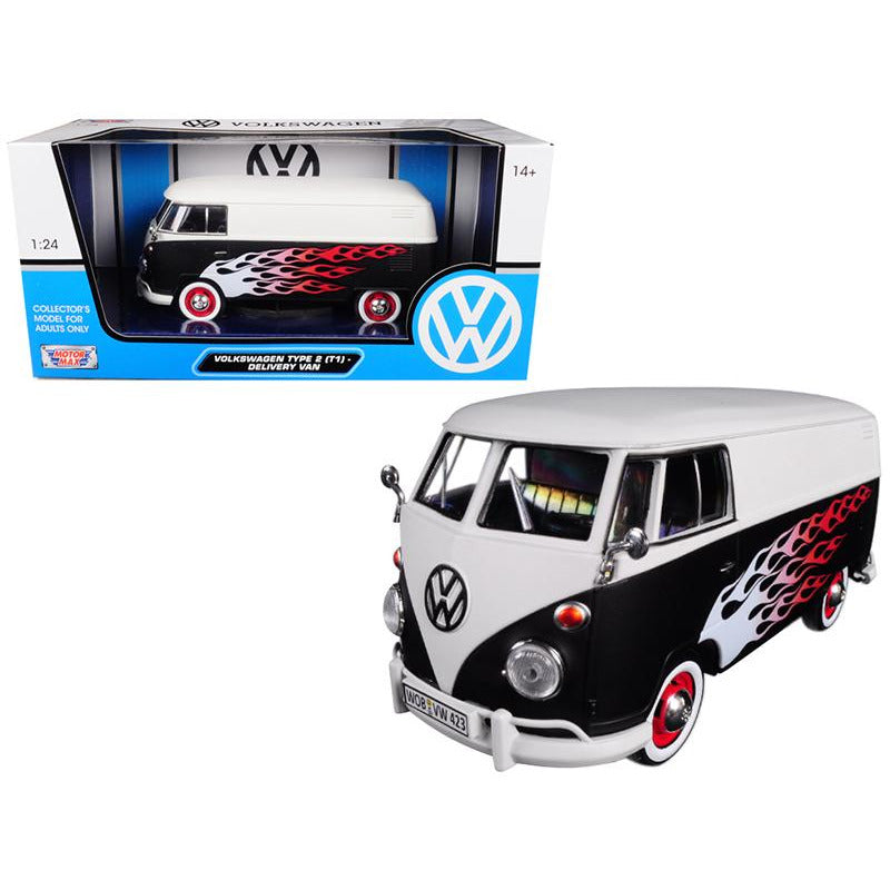 Volkswagen Type 2 (T1) Delivery Van with Flames 1/24 Diecast Car Model
