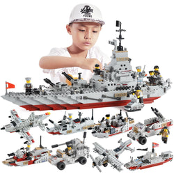 Military battleship building block boy gift puzzle children toys