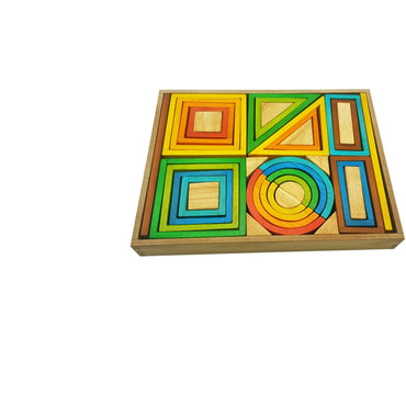 QToys Rainbow Nesting Blocks-MercadoGames.com