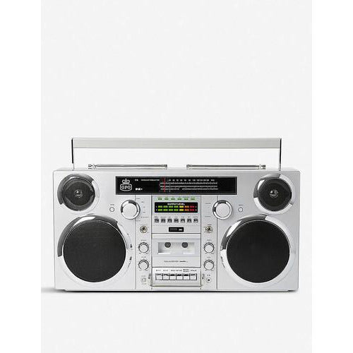GPO Brooklyn Bluetooth Boombox 80W CD Cassette FM USB Recording (Silver)-MercadoGames.com