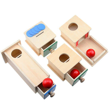 Toddler Wood Montessori Match Permanent Ball Rectangular Box Toys
