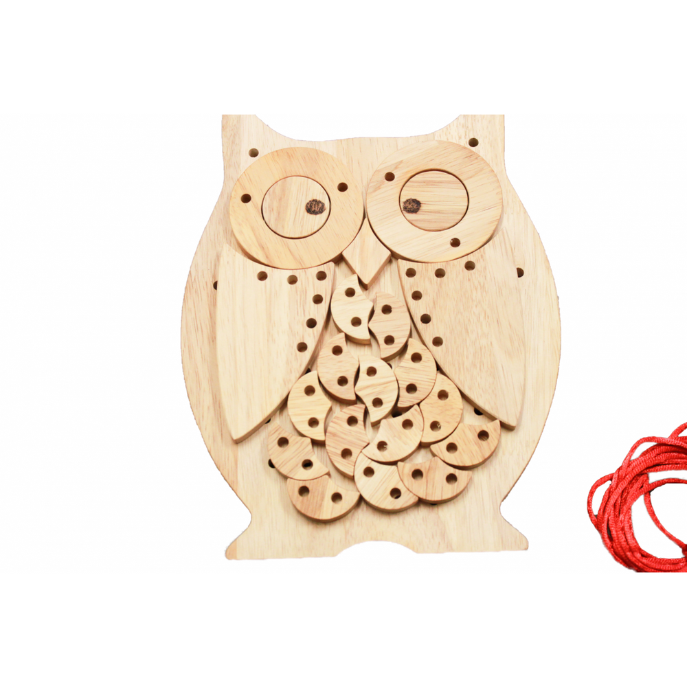 QToys Lacing Wooden Owl-MercadoGames.com
