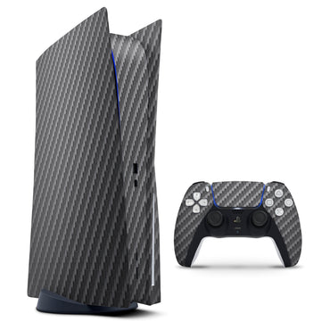 Textured Black Carbon Fiber - Full Vinyl decal Bundle for PlayStation