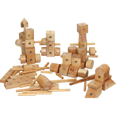 QToys Natural Wood Construction Set-MercadoGames.com