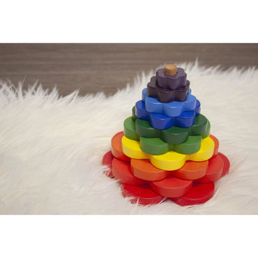 QToys Stacking Flowers Wooden Puzzle Toy-MercadoGames.com