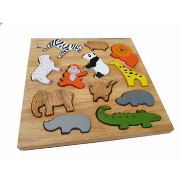 QToys Animal Play Set & Puzzle Wooden Toy-MercadoGames.com