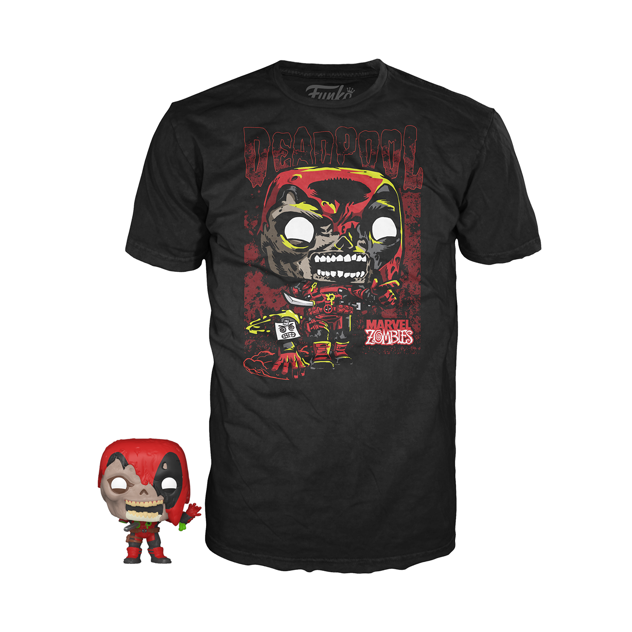 Funko Pocket Pop! & Tee: Marvel Zombies - Deadpool-MercadoGames.com
