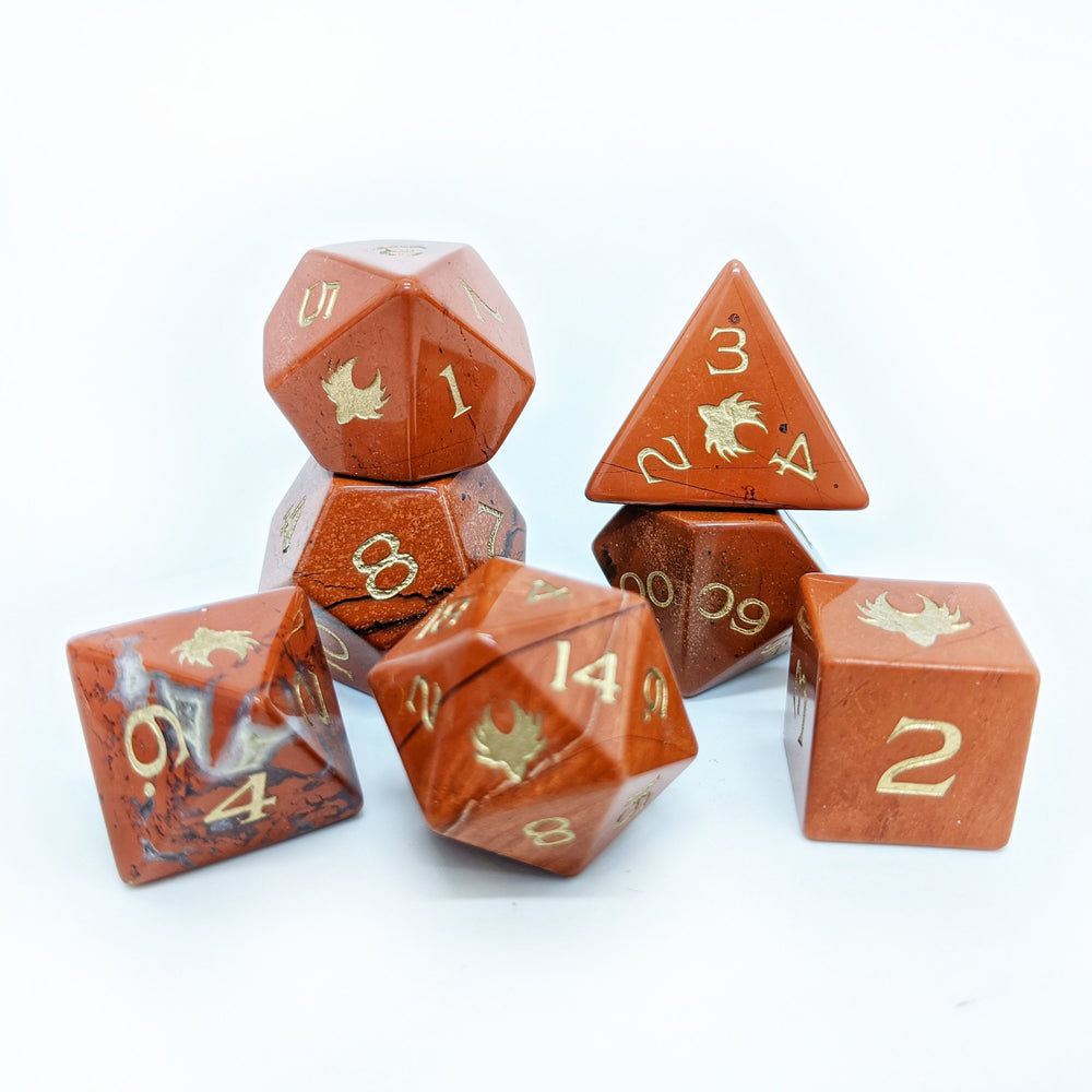Red Jasper Gemstone Dice Set -  Role Playing Games