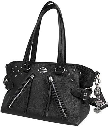 Harley-Davidson® Womens Rider B&S with Studs Black Leather Satchel