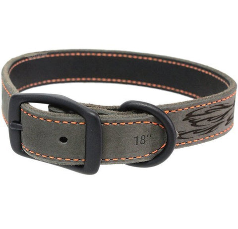 Lazered Flames Rustic Leather Pet Collar