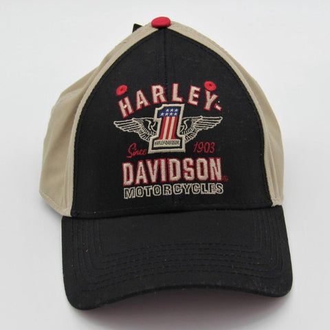 H-D® BG Baseball Cap #1 Black & Light Brown / Red