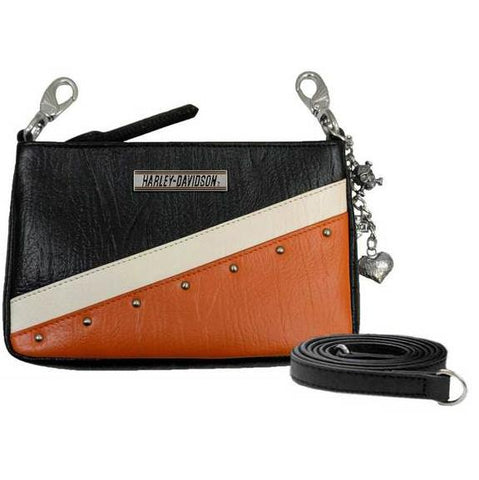 Women's Orange Colorblock Leather Hip Bag