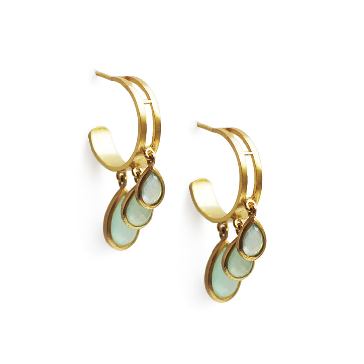 Sanaz - Full of Grace, Green Chalcedony Earrings