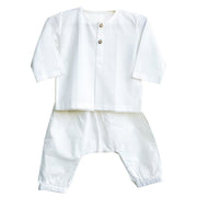 UNISEX ESSENTIAL WHITE KURTA WITH MATCHING PYJAMA PANTS