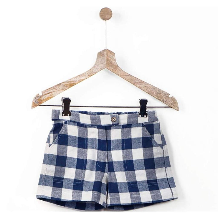 Blue Gingham Checks Adjustable Waist Shorts with Pockets