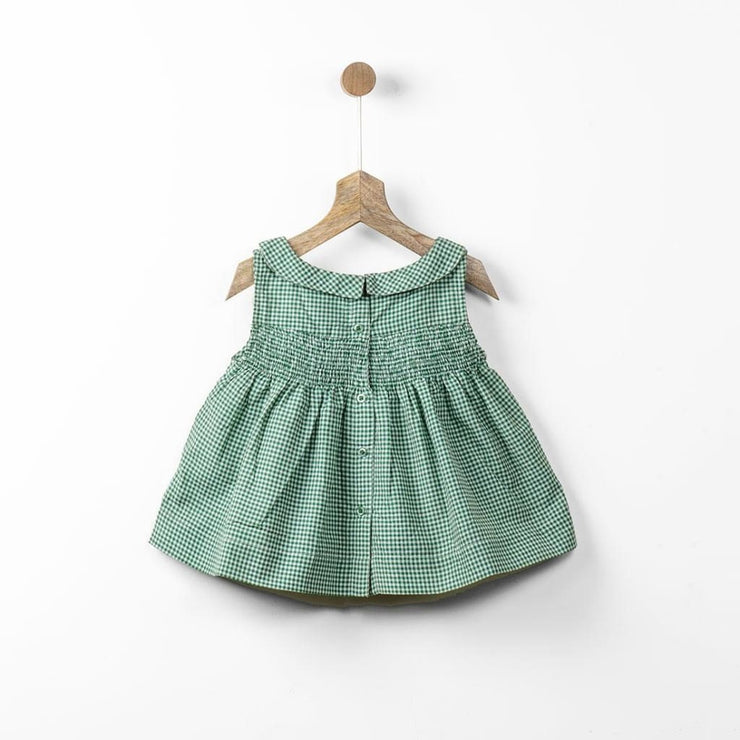 Cotton Blend Green Gingham Smock Top with Back Buttons