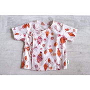 FISH PRINT ANGARAKHA TOP WITH MADDER RED PYJAMA BOTTOMS