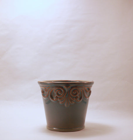 Blue embossed pot