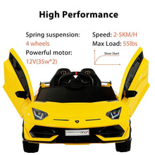 Load image into Gallery viewer, Lamborghini Aventador SVJ Sports Ride on Car Yellow Ride On Cars FREDDO