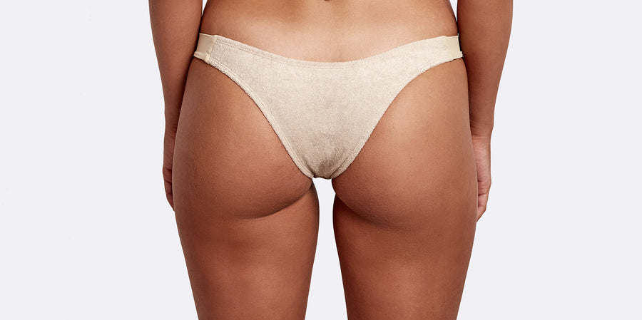 Cavallo Terry cloth high cut brief tan back