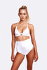 Corfu extended high waist two piece Terry cloth white front