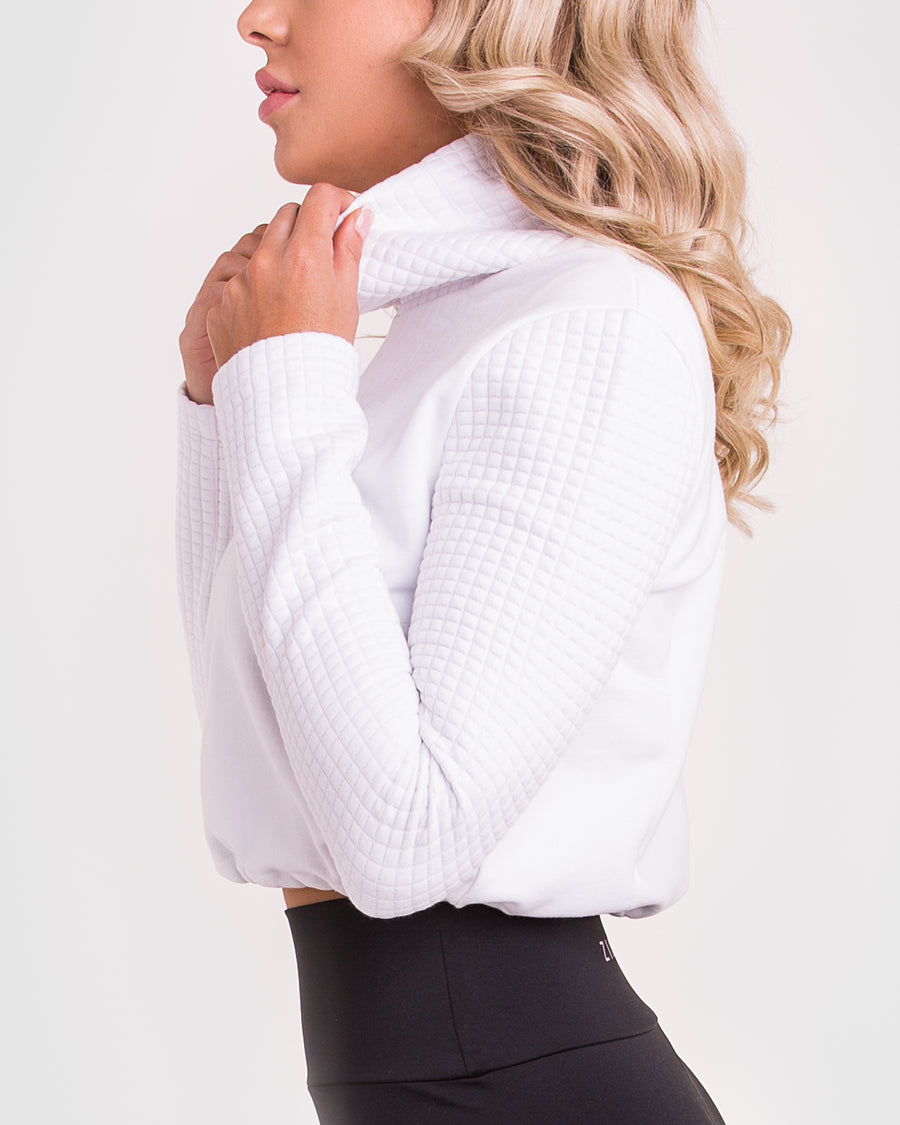 White Sweater | Oxford High Neck Pullover | Zingiber Australian Designer #whitesweater #pullover #jumper
