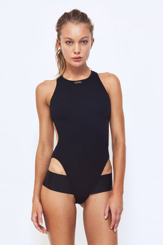 Black One Piece Swimsuit | Zane Neoprene One Piece | Zingiber Australian Designer Swimwear Label #onepieceswimsuit #bathersaustralia #onepiecebathers