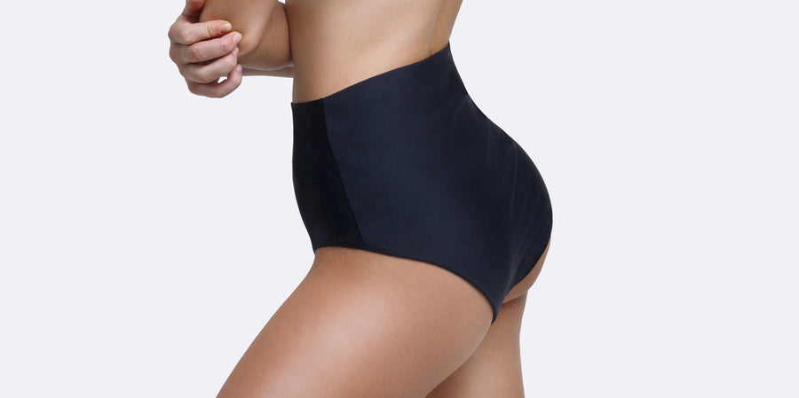 Bather Bottoms | Gigi Medium High Waist Brief | Zingiber Australian Designer Swimwear Label #bathers #blackbathers #bikinibottom