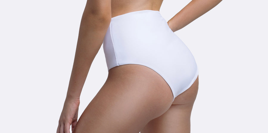 White Bikini | Gigi Medium High Waist Brief | Zingiber Australian Designer Swimwear Label  #whitebikini #australianswimwear #zingiber